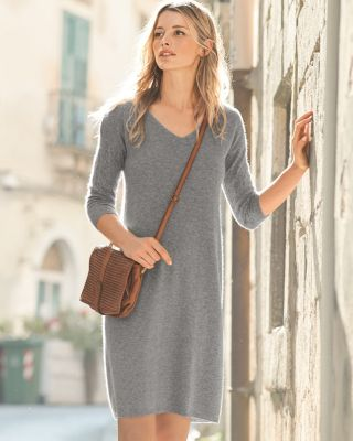 Cashmere Pointelle-Sleeve Sweater Dress