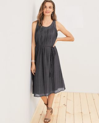 Pleated-Bodice Midi Dress