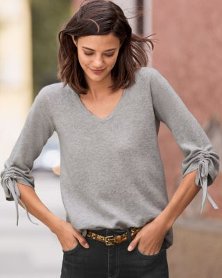 Tie-Sleeve Cashmere Sweater By Garnet Hill