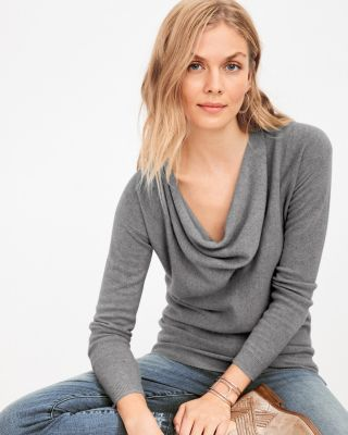 Cowl-Neck Cashmere Sweater