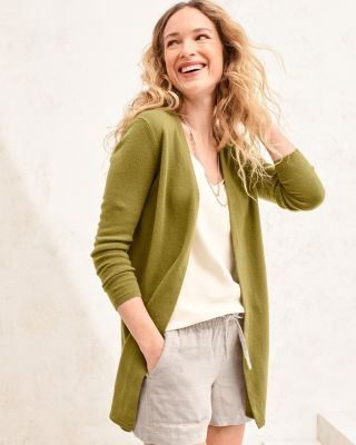 Easy Cashmere Open Cardigan Sweater