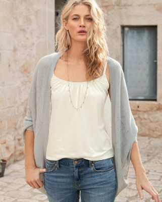 Cashmere Pointelle Cocoon Cardigan Sweater