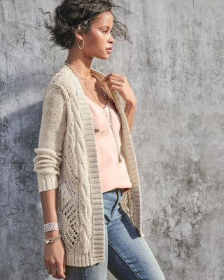 Pointelle Open Cardigan Sweater