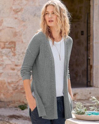 Rib-Detail Pointelle Cardigan Sweater