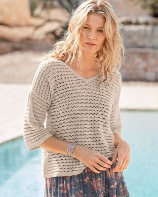 Rib-Detail Bell-Sleeve Pointelle Sweater