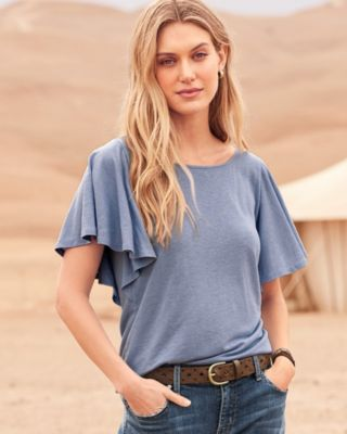 Linen and Modal Flutter-Sleeve Tee