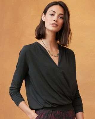 Blouson Surplice Knit Top By Garnet Hill