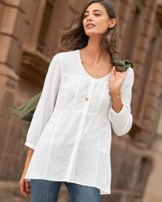 Seamed Gauze Tunic Top