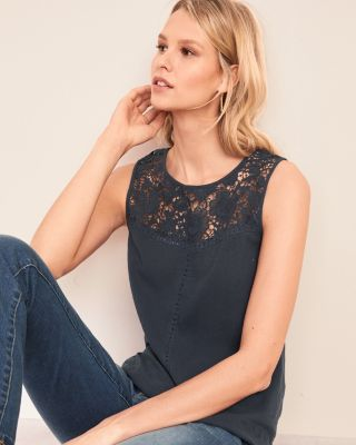 Lace-Yoke Shell Top