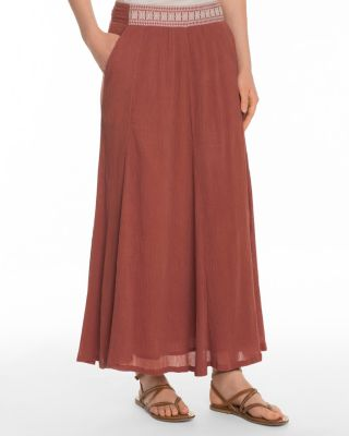 Waist-Detail Organic-Cotton Gauze Maxi Skirt