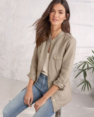 Linen Cargo Shirt Jacket