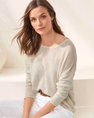 Organic Linen Boatneck Oversized Sweater