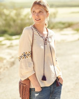Lilla P Lace-Front Embroidered Gauze Top