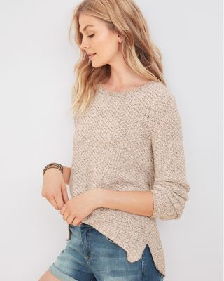 High-Low Textured Pullover Sweater