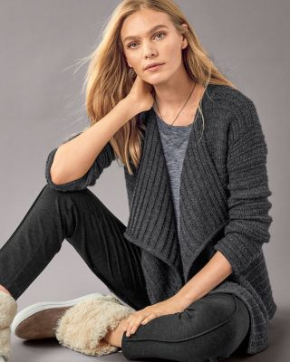 Alpaca Drop-Stitch Cardigan Sweater