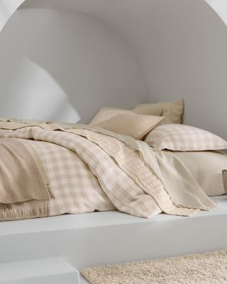 EILEEN FISHER Buffalo-Check Washed-Linen Duvet Cover
