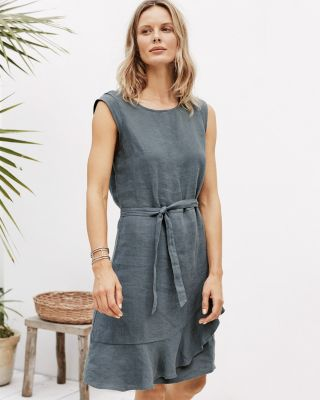 Linen Ruffled Wrap Dress By Garnet Hill