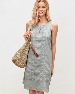 Lace-Inset Linen Dress