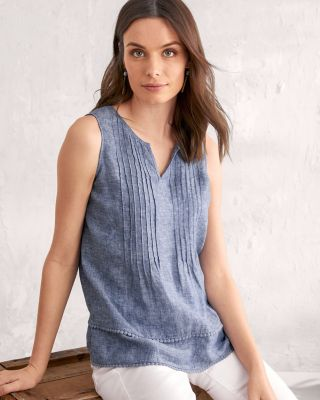 Linen Pintuck Tank Top By Garnet Hill