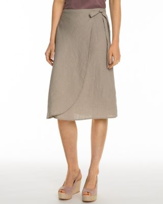 Linen Wrap-Detail Skirt By Garnet Hill