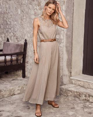 Lace-Yoke Cotton Gauze Maxi Dress