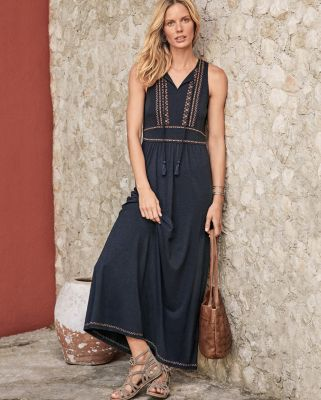 Embroidered-Bodice Knit Maxi Dress
