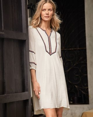 Embroidered Lantern-Sleeve Dress