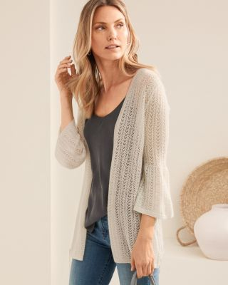 Featherweight Cashmere Pointelle Open Cardigan Sweater