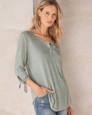 Organic-Linen Tie-Sleeve Tunic Top