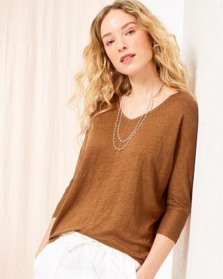 Organic-Linen Batwing Tee Shirt By Garnet Hill