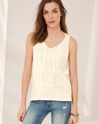 Lace-Inset Organic Cotton Peplum Tank Top