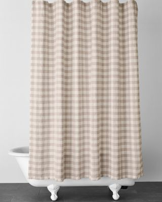 EILEEN FISHER Buffalo-Check Washed-Linen Shower Curtain