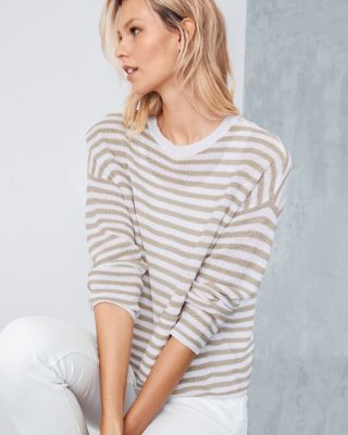 EILEEN FISHER Organic-Linen Striped Sweater