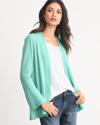 EILEEN FISHER Organic-Linen Bell-Sleeve Cardigan Sweater