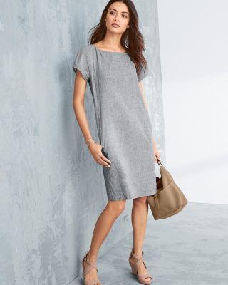 EILEEN FISHER Hemp & Organic Cotton Shift Dress Petite