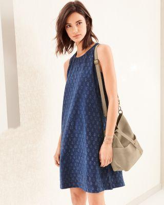 EILEEN FISHER Organic-Cotton Block-Print Dress Petite