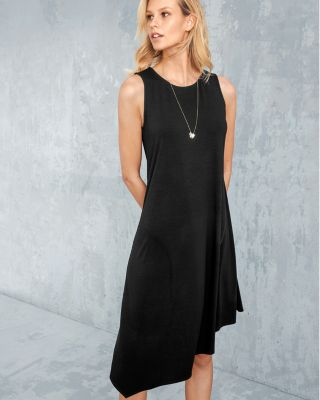 EILEEN FISHER Viscose-Jersey Asymmetrical Tank Dress Petite