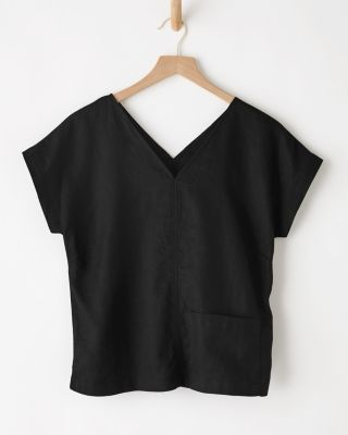 V-Neck Linen Boxy Tee Shirt By Garnet Hill