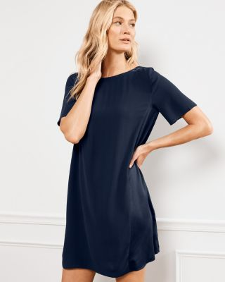 EILEEN FISHER Silk Georgette Crepe Seam-Detail Dress