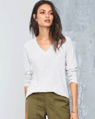 EILEEN FISHER Organic-Cotton Pinstripe Long-Sleeve Tee