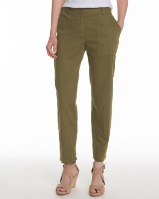 EILEEN FISHER Organic-Cotton Twill Ankle Pants Petite