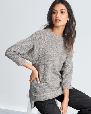 EILEEN FISHER Organic-Cotton-Terry Three-Quarter-Sleeve Top - Regular
