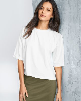 EILEEN FISHER Organic-Cotton Stretch Cropped Tee