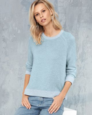 EILEEN FISHER Plaited Organic Linen & Cotton Crewneck