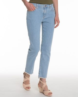 EILEEN FISHER Frayed-Hem Organic-Cotton Stretch Jeans Petite
