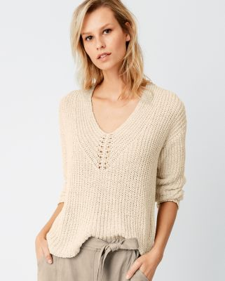 EILEEN FISHER Organic-Cotton &amp Linen Tape-Yarn Sweater Petite