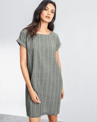 EILEEN FISHER Organic-Cotton and Hemp Short Dress