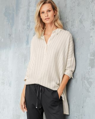 EILEEN FISHER Striped Gauze Boxy Shirt
