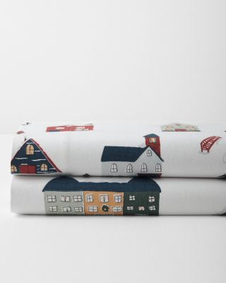 Holiday Village Cotton Flannel Sheets