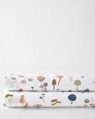 Mushroom Print Organic-Cotton Percale Sheets
